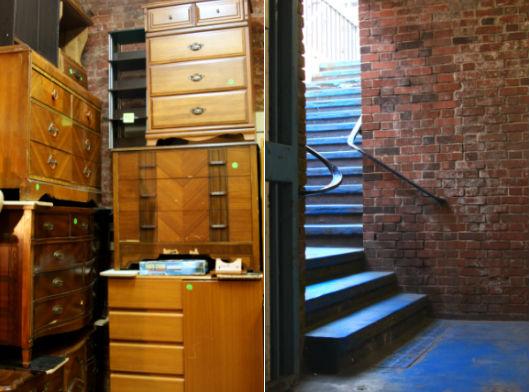 Vintage Furniture Shop and Subway Entrance